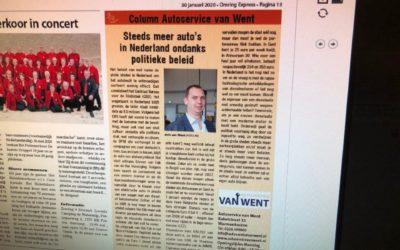 Autoservice Van Went met column in de krant